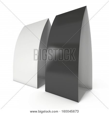 Two blank paper tent cards. 3d render illustration isolated. Table cards mock up on white background.