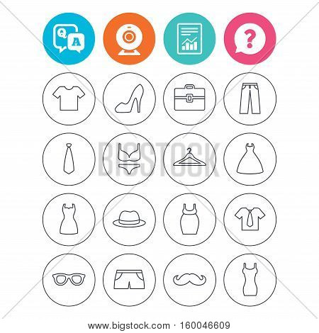 Clothes and accessories icons. Shirt with tie, pants and woman dress symbols. Hat, hanger and glasses thin outline signs. Underwear and maternity clothes. Report document, question and answer icons
