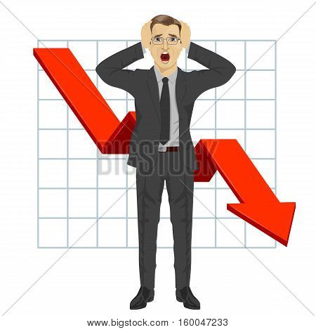 full length illustration of business man grabbed his head. Red arrow. Financial down graph. Crisis. Falling trend.