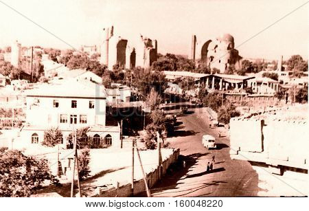 View of Bibi-Khanim in Samarkand Uzbekistanin 1962