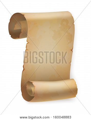 Vertical vintage paper roll or parchment scroll, ancient papyrus or old blank letter, empty and torn placard template. Good for old page scroll or rolled paper, scroll banner or wisdom, religion theme