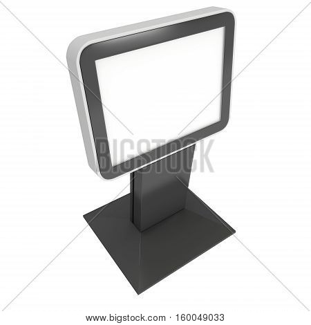 LCD Screen Stand. Blank Trade Show Booth. 3d render of lcd tv isolated on white background. High Resolution. Ad template for your expo design.