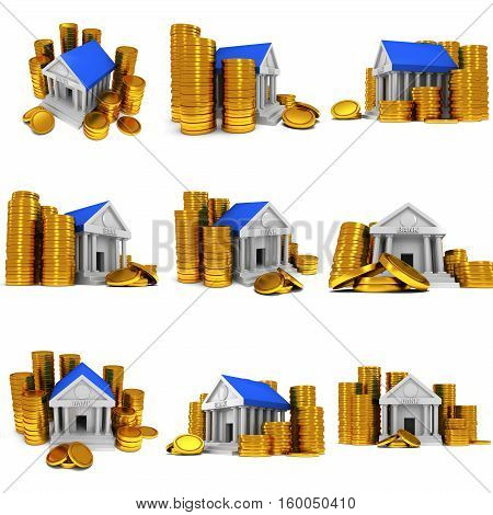 Bank building with gold coins. 3D render icon isolated on white. Finance and credit concept set.