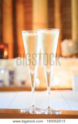 Two Glasses Of Champagne Near Jacuzzi. Valentines Background. Romance Concept