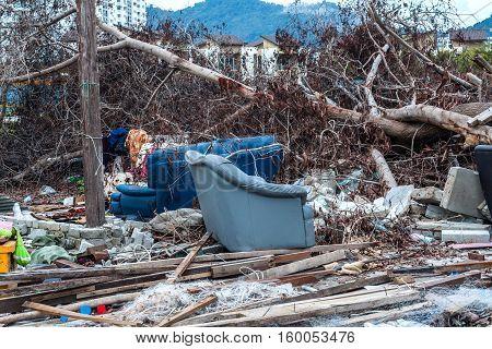 Junk site indicating disaster like tsunami, earthquake,tornado or typhoon