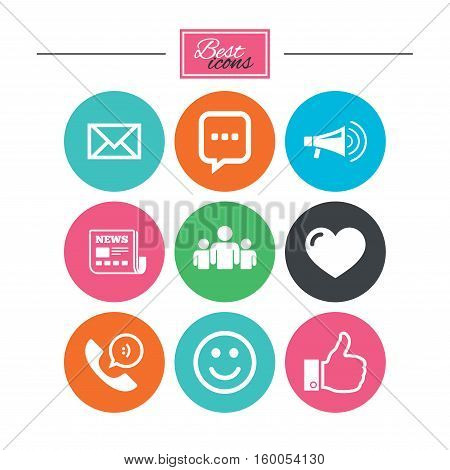 Mail, news icons. Conference, like and group signs. E-mail, chat message and phone call symbols. Colorful flat buttons with icons. Vector
