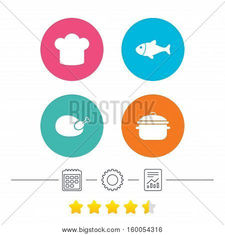 Chief hat and cooking pan icons. Fish and chicken signs. Boil or stew food symbol. Calendar, cogwheel and report linear icons. Star vote ranking. Vector