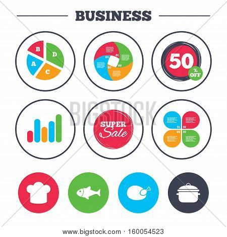 Business pie chart. Growth graph. Chief hat and cooking pan icons. Fish and chicken signs. Boil or stew food symbol. Super sale and discount buttons. Vector