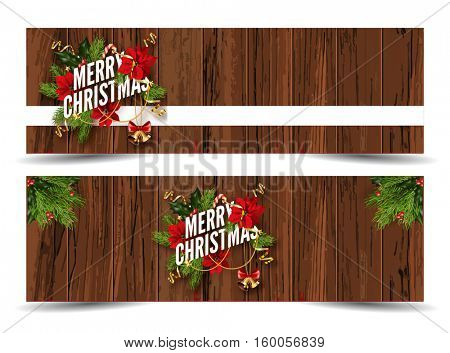 Merry Christmas web banners template. Design for your holiday invitation with pine branches, christmas flowers, jingle bells and mistletoe or holly berry on wooden background. Vector Illustration.