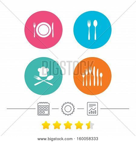Plate dish with forks and knifes icons. Chief hat sign. Crosswise cutlery symbol. Dessert fork. Calendar, cogwheel and report linear icons. Star vote ranking. Vector