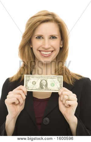 Businesswoman Hold Dollar Bill