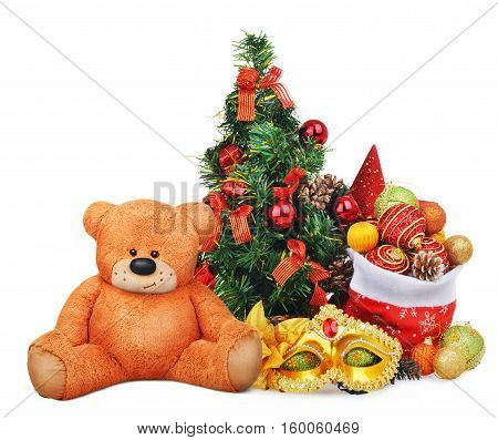 Christmas composition with santa claus bag and teddy bear toy isolated on white background