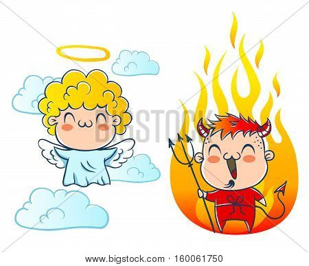 Angel on cloud and devil with fire. Good and bad. Costumes angel and devil.