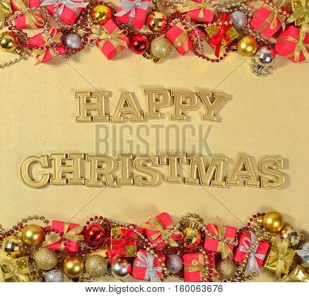 Happy Christmas Golden Text And Christmas Decorations