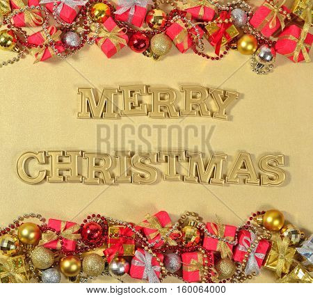 Merry Christmas Golden Text And Christmas Decorations