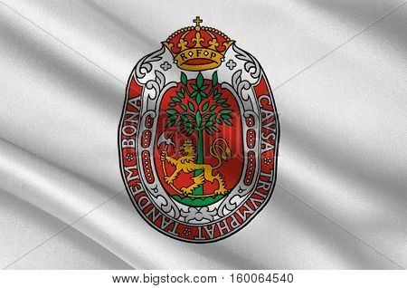 Flag of Kristiansand is a city and municipality in Norway. 3d illustration