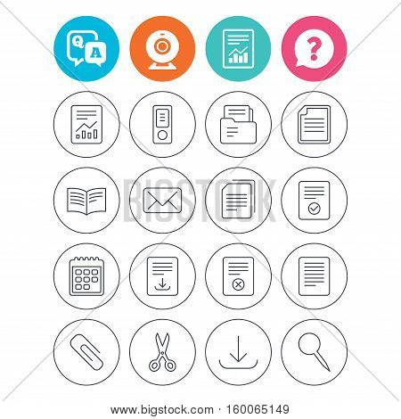 Documents linear icons. Accounting, book and calendar symbols. Paper clip, scissors and download arrow thin outline signs. Mail envelope and file chart. Report document, question and answer icons