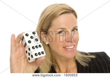 Blonde Woman With Dice