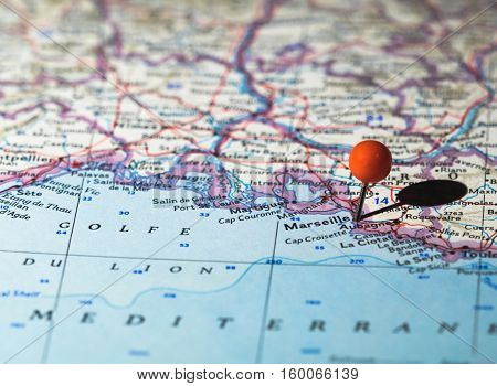 Marseille France pinned on a Route map