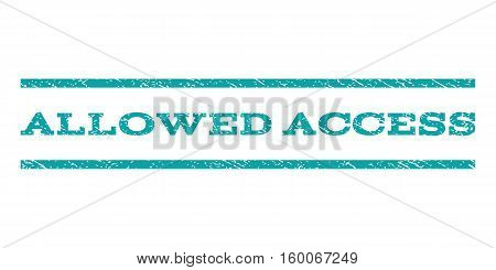 Allowed Access watermark stamp. Text caption between horizontal parallel lines with grunge design style. Rubber seal cyan stamp with dirty texture. Vector ink imprint on a white background.