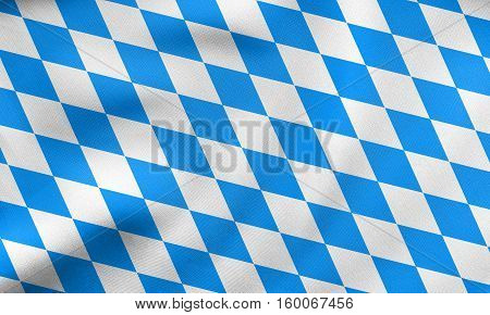 Flag Of Bavaria Waving, Real Fabric Texture