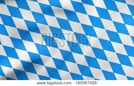 Flag Of Bavaria Waving, Real Fabric Texture