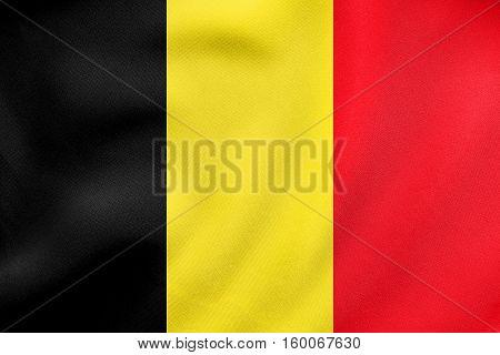 Flag Of Belgium Waving, Real Fabric Texture