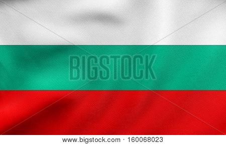 Flag Of Bulgaria Waving, Real Fabric Texture