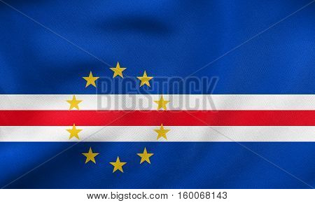 Flag Of Cape Verde Waving, Real Fabric Texture
