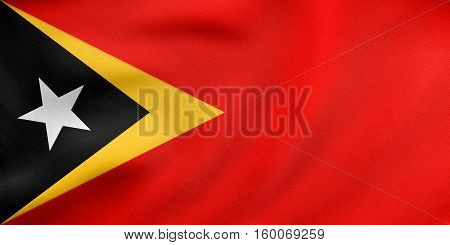 Flag Of East Timor Waving, Real Fabric Texture