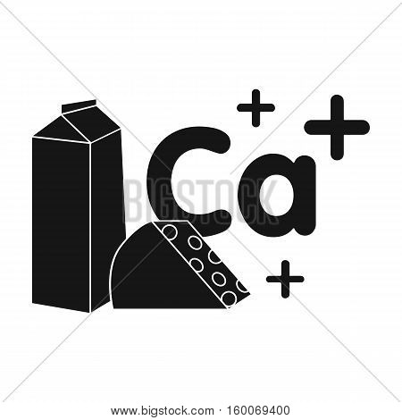 Sources of Calcium icon in black style isolated on white background. Dental care symbol vector illustration.