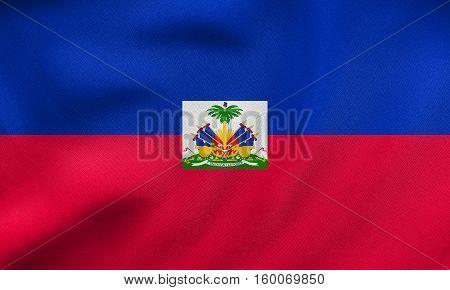 Flag Of Haiti Waving, Real Fabric Texture