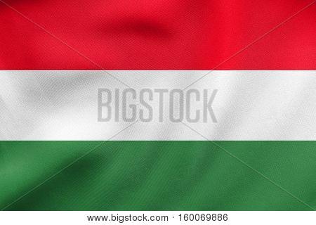 Flag Of Hungary Waving, Real Fabric Texture