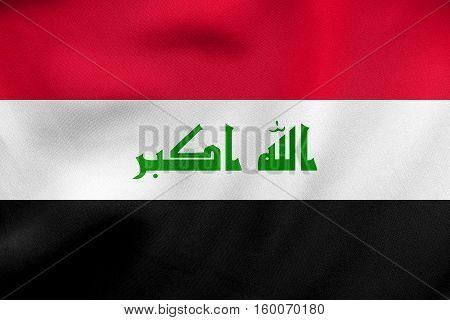 Flag Of Iraq Waving, Real Fabric Texture