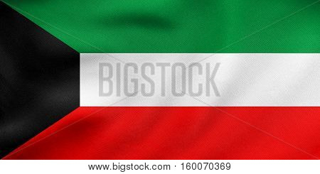 Flag Of Kuwait Waving, Real Fabric Texture