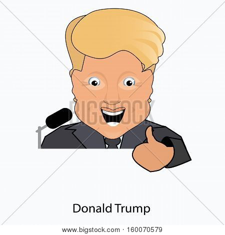 the president a smile the paletsvverkh the victory elections of 2016 gives to donald trump an interview behind a tribune. On the white separated background. Vector illustration.