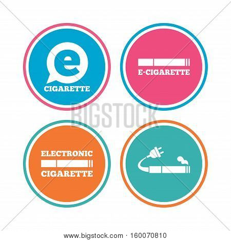 E-Cigarette with plug icons. Electronic smoking symbols. Speech bubble sign. Colored circle buttons. Vector