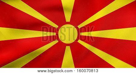 Flag Of Macedonia Waving, Real Fabric Texture
