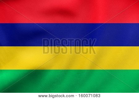 Flag Of Mauritius Waving, Real Fabric Texture