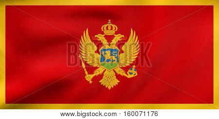 Flag Of Montenegro Waving, Real Fabric Texture