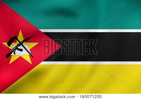 Flag Of Mozambique Waving, Real Fabric Texture