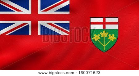 Flag Of Ontario Waving, Real Fabric Texture
