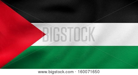 Flag Of Palestine Waving, Real Fabric Texture