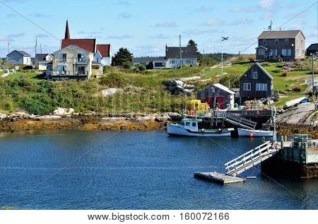 PEGGY'S COVE, NS. - AUGUST, 2016 - The quaint fishing village of Peggy's Cove in Nova Scotia is a major tourist destination.