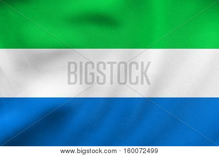 Flag Of Sierra Leone Waving, Real Fabric Texture