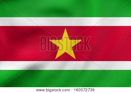 Flag Of Suriname Waving, Real Fabric Texture