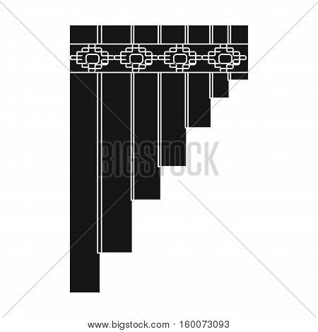 Mexican pan flute icon in black style isolated on white background. Mexico country symbol vector illustration.