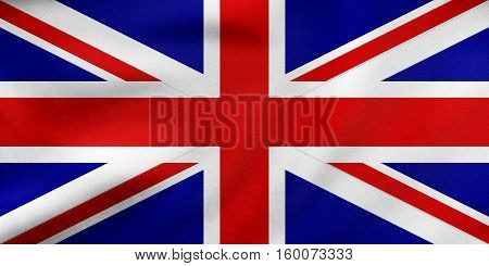 Flag Of United Kingdom Waving, Real Fabric Texture