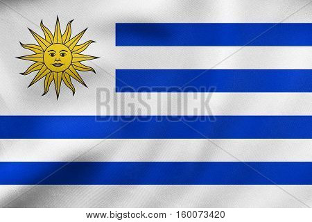 Flag Of Uruguay Waving, Real Fabric Texture