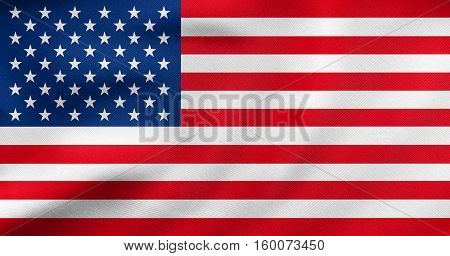 American national official flag. Symbol of the United States. Patriotic US banner design background. Correct size colors. Flag of USA waving in wind real detailed fabric texture. 3D illustration